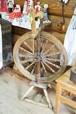 Old distaff. Spinning wheel. Device for making yarns. Vintage distaff
