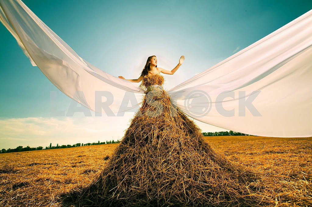 Beautiful girl in the hay with white wings — Image 8378