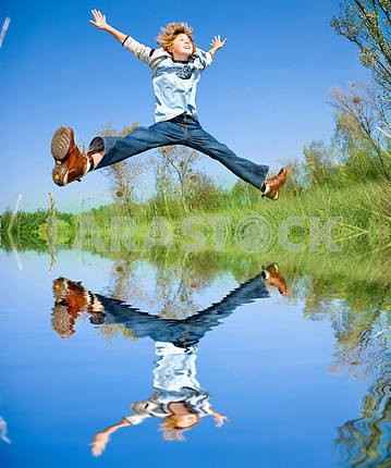 Happy jumping boy