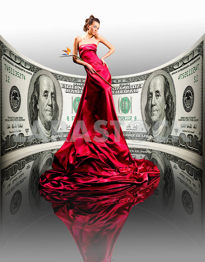 Beautiful girl in red dress, money. 100 american dollars — Image 9495