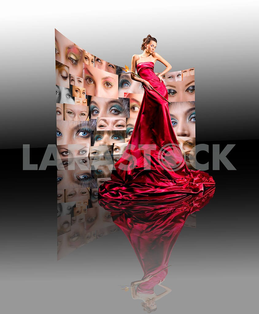 Beautiful girl in long red dress — Image 9500
