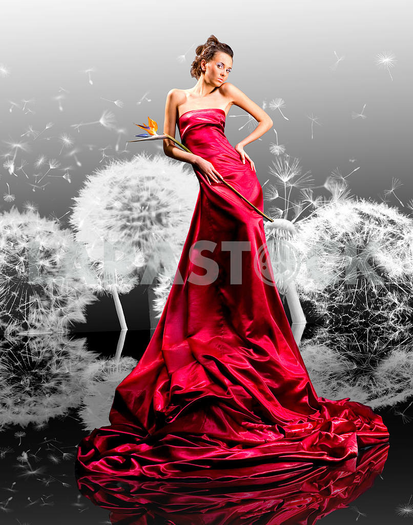Beautiful girl in red dress against dandelions — Image 9505