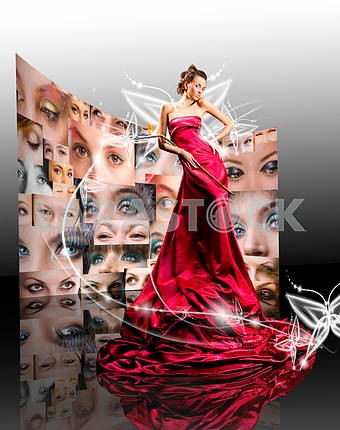 Beautiful girl in red dress against fantasy butterfly luminous