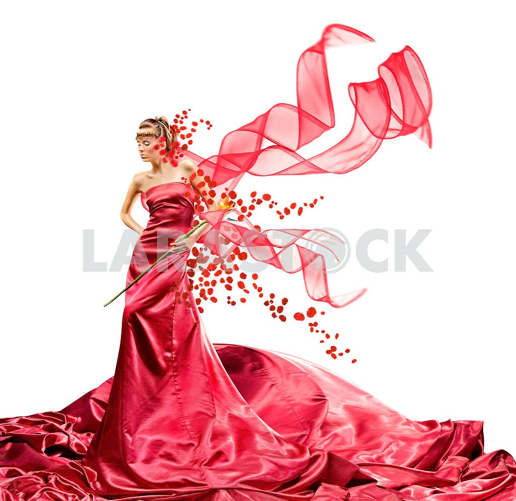 Beautiful girl in red dress — Image 9596