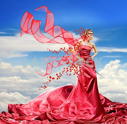 Beautiful girl in red dress