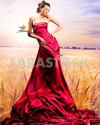 Beautiful girl in red dress. Golden wheat ready for harvest grow