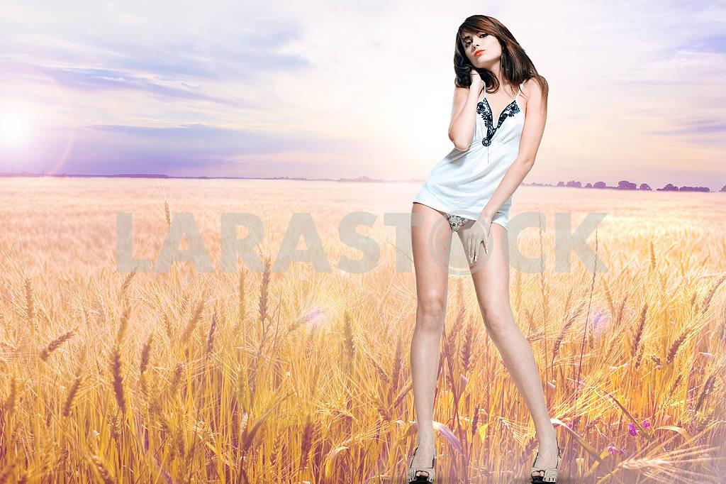 Beautiful girl in a female underwear. Golden wheat ready for har — Image 9647