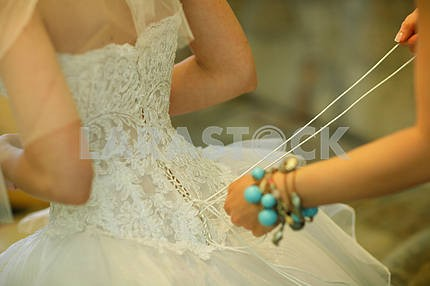 Lacing on dress bride