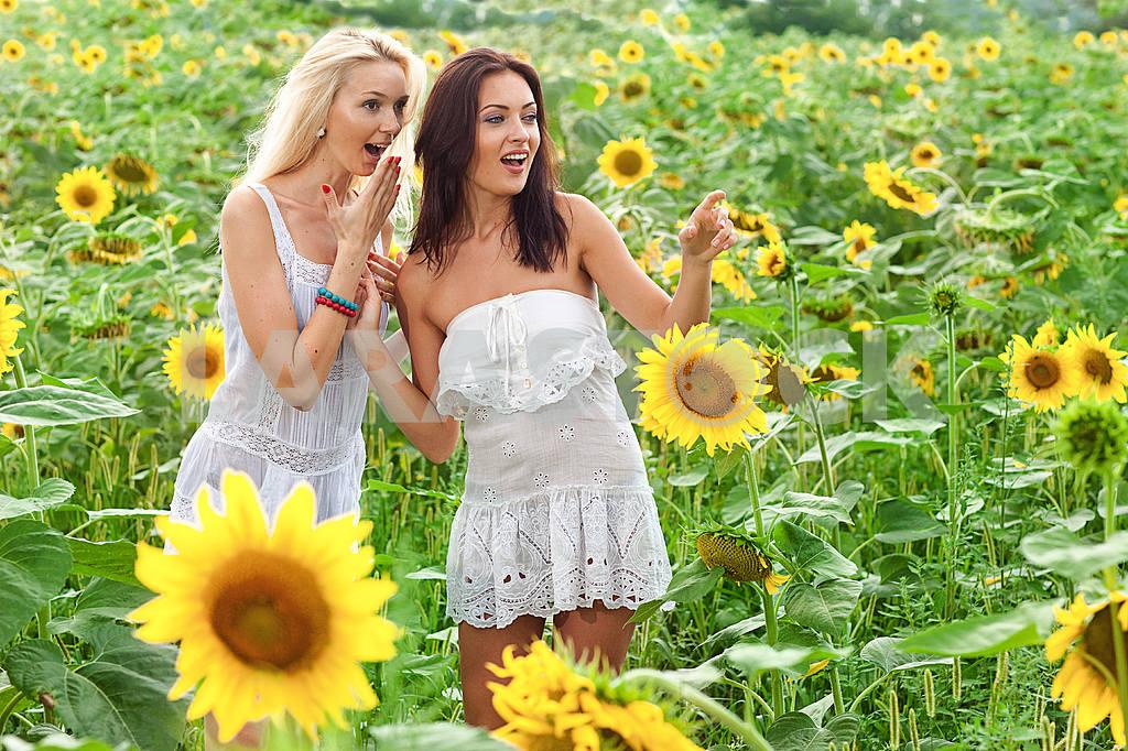 Две подруги веселятся в поле подсолнухов — Изображение 9920