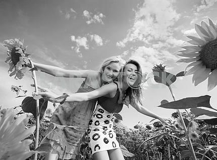 Two girlfriends having fun in field of sunflowers